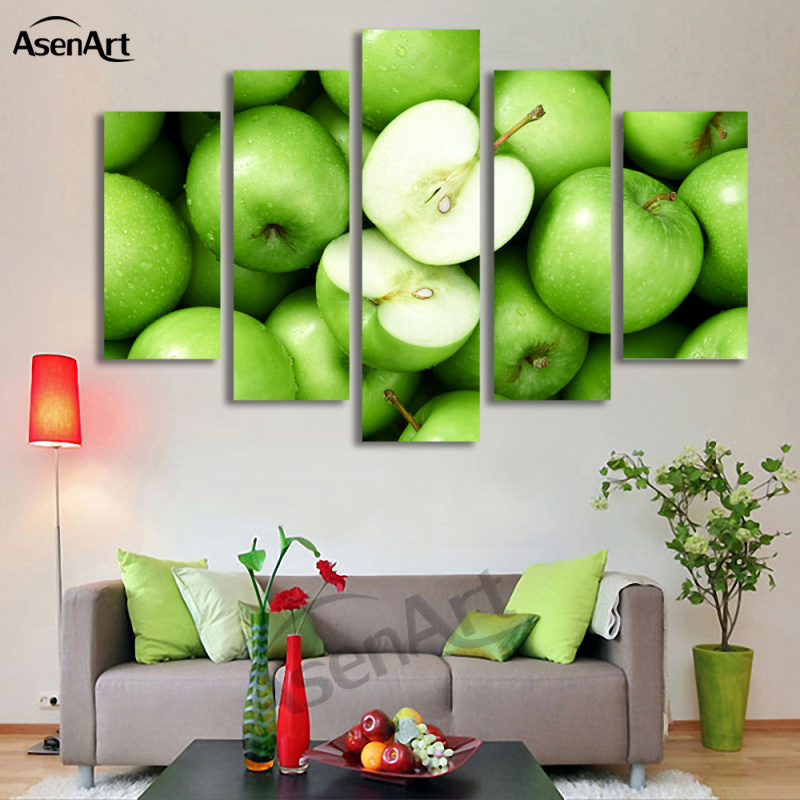 Apple Kitchen Decor Cheap: 5 Panel Art Green Apple Modern Picture Fruit Oil Painting
