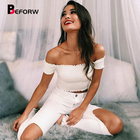 BEFORW Sexy Women Blouses One Word Collar Off The Shoulder Tops Shirt For Women White Short Sleeves Cotton Crop Top Blouse