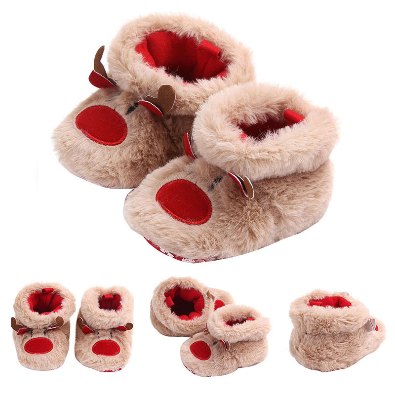0-1Y Christmas Deer Cotton Toddler Shoes Baby Shoes Baby Winter Boots Infant Snow Boots Soft Sole Prewalkers
