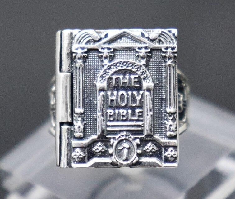 Importé S925 Thai argent Bible anneau rétro croix religieuse anneau hommes index anneau atmosphérique Christ