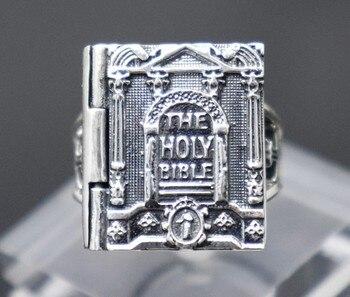 Imported S925 Thai Silver Bible Ring Retro Cross Religious Ring Men Forefinger Ring Atmospheric Christ