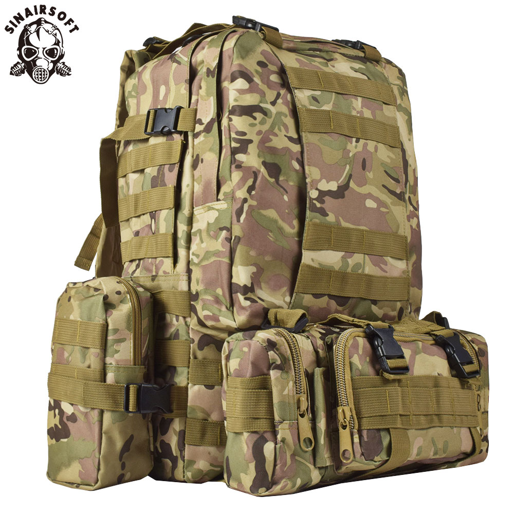 9 Warna Warna! Baru 50L Molle Tactical Backpack Assault Outdoor - Beg sukan - Foto 5