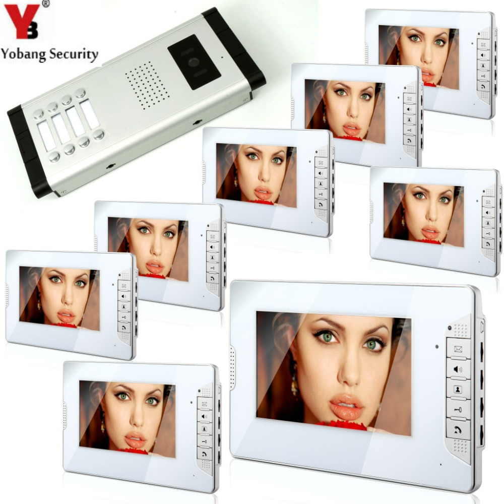 YobangSecurity 7 Inch HD Color Cable Video Door Phone Video Door The System Intercom Doorbell Home Parts 8 Unit Apartment Kit yobangsecurity 8 unit apartment video intercom wired 7 inch color hd video phone doorbell intercom access system 8 monitor