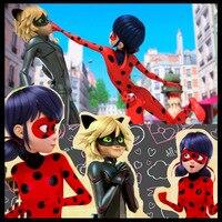 2017 Hot Kids Zip The Miraculous Ladybug Cosplay Costume Girls Ladybug Marinette Child Lady Bug Spandex