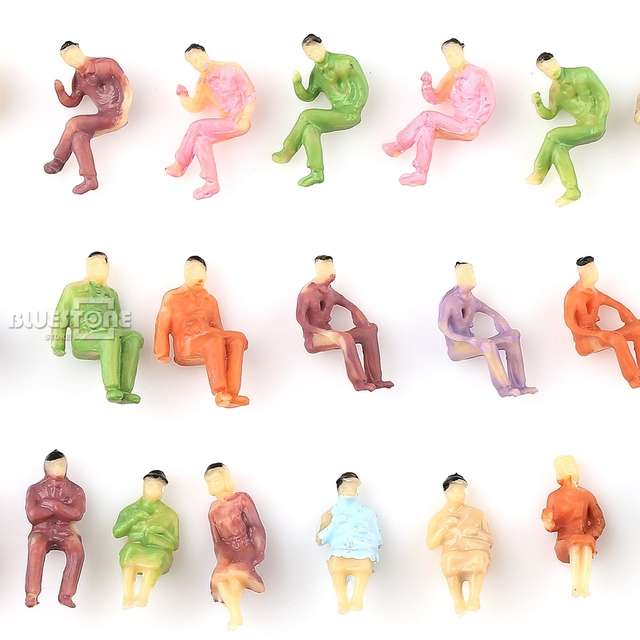 100 pcs Painted Z scale ALL Seated People Sitting Figures 1:200 1