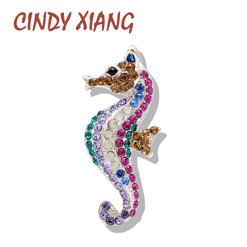 CINDY XIANG Rhinestone Seahorse Brooch Multi-color Sea Animal Pins Beach Jewelry Summer Brooches for Women Coat Dress Gift