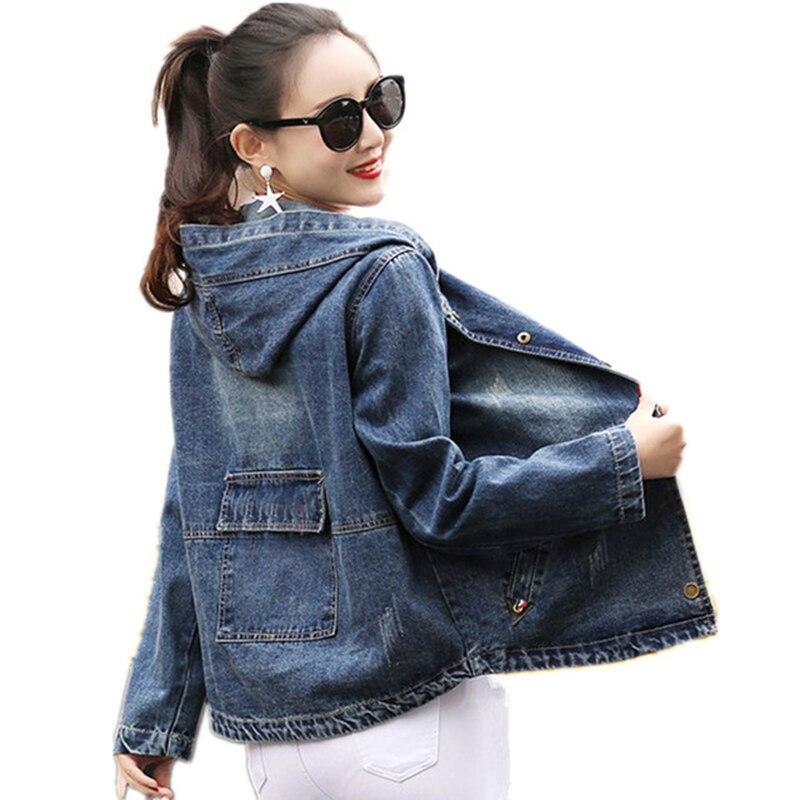 2018 Spring Autumn Oversized short Jeans Jacket Women Loose  Hooded Basic Jacket Coat Female Casual pocket Denim Jackets QH1178