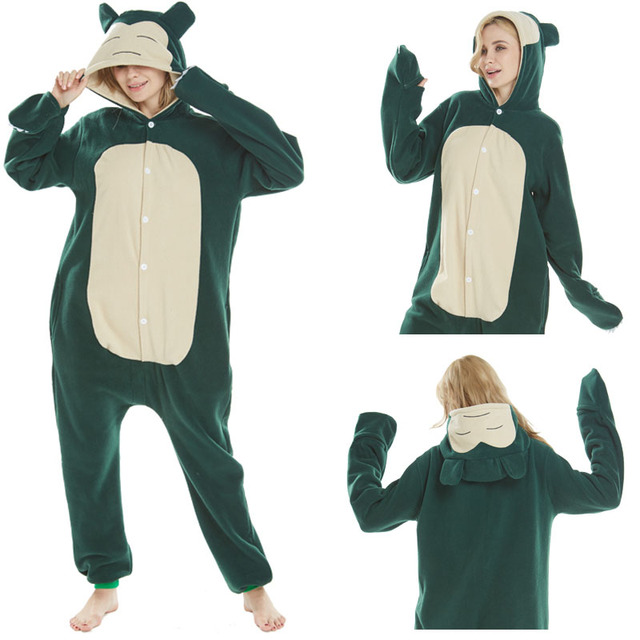 71a6b7770f Party dress for Xmas Halloween Costume Pocket Monster Cartoon Snorlax Elf Onesie  Women Hooded Sleepwear Pajamas Winter