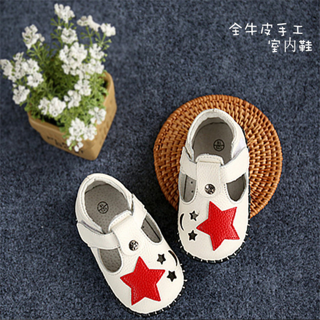 New 2016 Spring Kids Shoes Soft Genuine Leather Baby Boy First Walkers Stars Fretwork Baby Shoes #