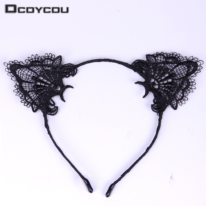 Female Women Lady Girls Sexy Cat Ears Black Lace Hairbands Headbands   Headwear   Hair Hoop Party Hair Accessories