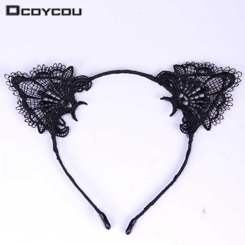 หญิงหญิงเลดี้หญิงเซ็กซี่แมวหูลูกไม้สีดำ Hairbands Headbands Headwear ผม Hoop อุปกรณ์เสริมผม