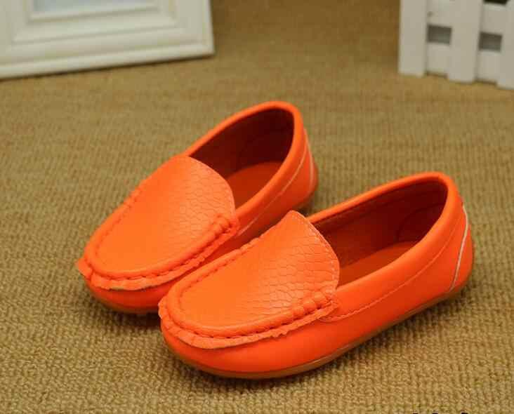 12 צבעים כל גדלים 21-38 ילדי נעלי עור מפוצל מזדמן סגנונות בני בנות נעלי נוחות רכה להחליק על ילדים נעלי