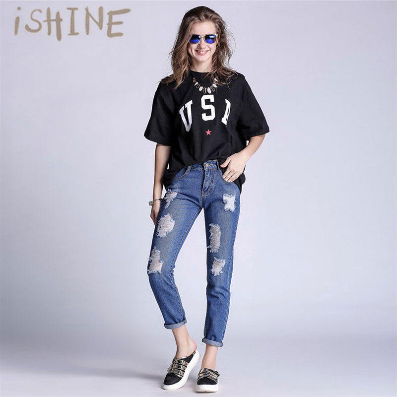 2017 Women's Large Size hole Jeans Mid Waist Blue Skinny Slim Trousers Cool Vintage Fashion Casual Pants Female Lady For S/M/5XL women jeans large size high waist autumn 2017 blue elastic long skinny slim jeans trousers large size denim pants stretch female