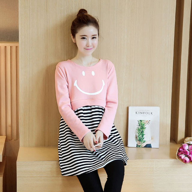 Plus Velvet Cotton Striped Breastfeeding Clothing Maternity Tees Nursing T-Shirts Tops Pregnancy Clothes for Pregnant Women B414