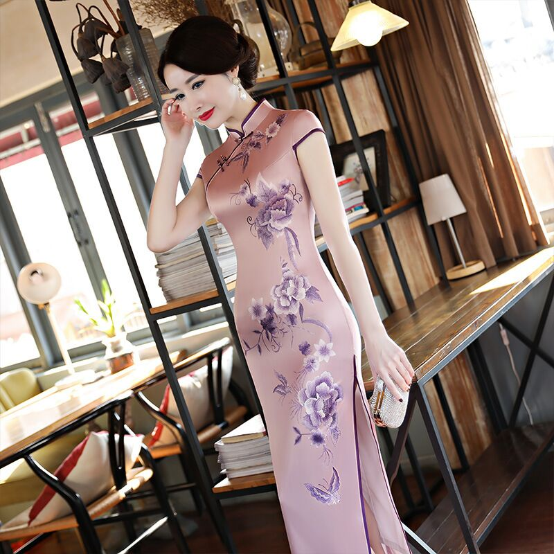 Fashion Chinese Style Women s Long Cheongsam New Arrival Rayon Dress Elegant Slim Qipao Vestidos Size
