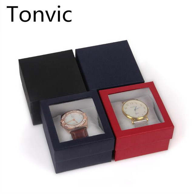 Tonvic Wholesale paper Watch Display box Slot Case Jewelry Storage