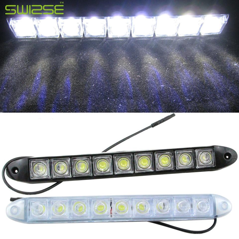High Quality Flexible Universal 12 LED Daytime Running Light Car COB DRL Driving Fog Light For Honda/Toyota/Hyundai/Nissan/Kia