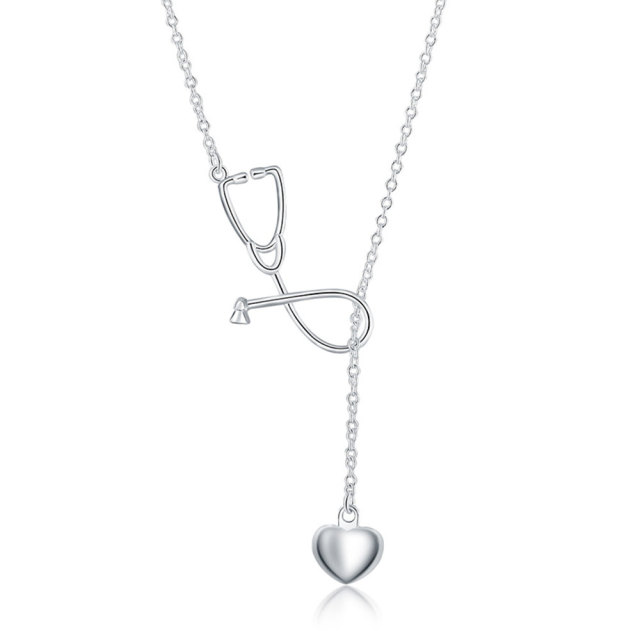 Ginstonelate charms wedding silver plated women necklace doctors ginstonelate charms wedding silver plated women necklace doctors stethoscope lariat jewelry cute nice lady lovely noble mozeypictures Image collections