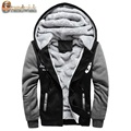 2017 New Wool Liner Men's Hooded Winter Outwear Patchwork Warm Men Sweatshirts Plus Size Exercise Suit Wear for Men, CA141