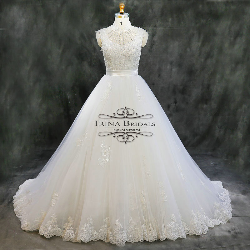 Irina Bridals High Quality High Neck Cap Sleeve Lace Appliques ... cc50014092e