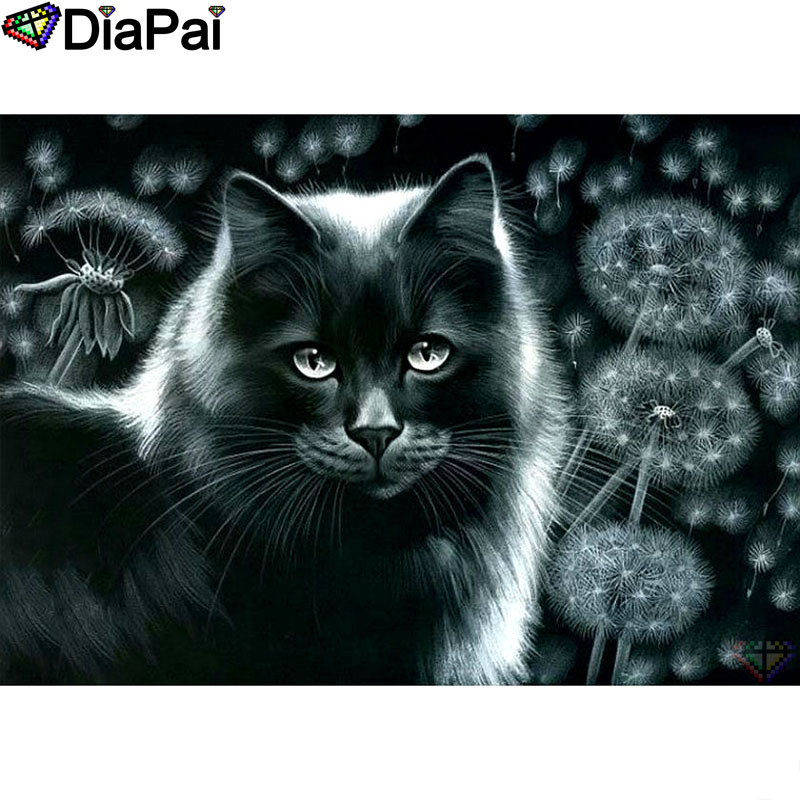 DIAPAI Diamond Painting 5D DIY 100 Full Square Round Drill quot Animal cat Dandelion quot Diamond Embroidery Cross Stitch 3D Decor A18501 in Diamond Painting Cross Stitch from Home amp Garden
