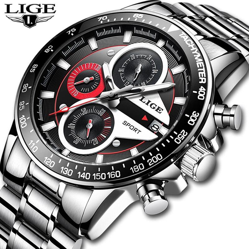 LIGE mode hommes montres homme créatif affaires chronographe Quartz horloge en acier inoxydable étanche montre hommes Relogio Masculino