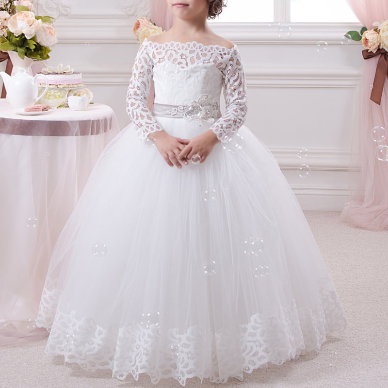 Long Sleeve Lace White Flower Girls Dresses For Weddings Party Tulle Ball Gown Cheap 2016 Girls Applique Long Girls Pageant Gown teen girls long lace tulle dresses for