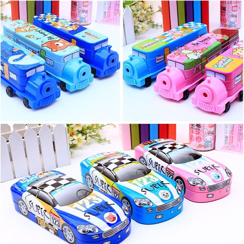 Kawaii children pencil case iron pupils present three-layer car multifunctional lovely train pencil-box kid s box 2ed 5 pupils bk