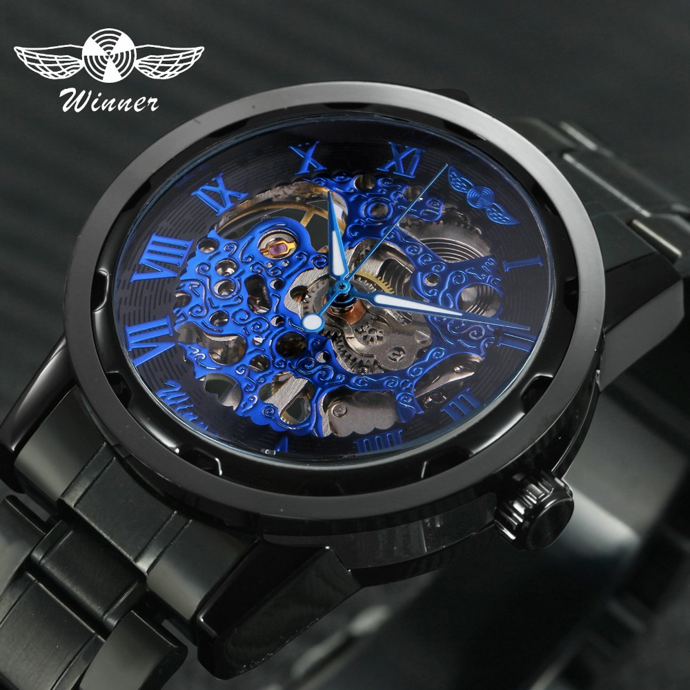 Mechanical Watches For Men Hand-Wind Leather Watches Roman Number Skeleton Wristwatches Luminous Hands Reloj Hombre