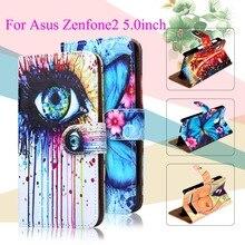 Peint PU Étuis En Cuir Pour Asus Zenfone 2 ZE500CL 2E Z00D Zenfone2 5.0 Pouce Couvre Détenteurs De La Carte Téléphone Sacs Portefeuille Flip Étui