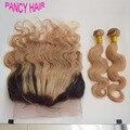 360 Laço Frontal Com Pacote 1b/27 Ombre Onda Do Corpo Brasileiro 360 lace frontal encerramento com 2 bundles Humano loiro mel cabelo