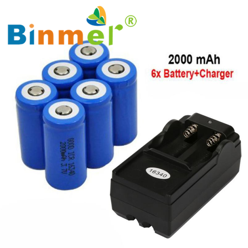 6x 2000mAh 16340 Rechargeable Li-ion Battery For LED Flashlight+CR123A Charger Wholesale Price Hot Drop_KXL0526