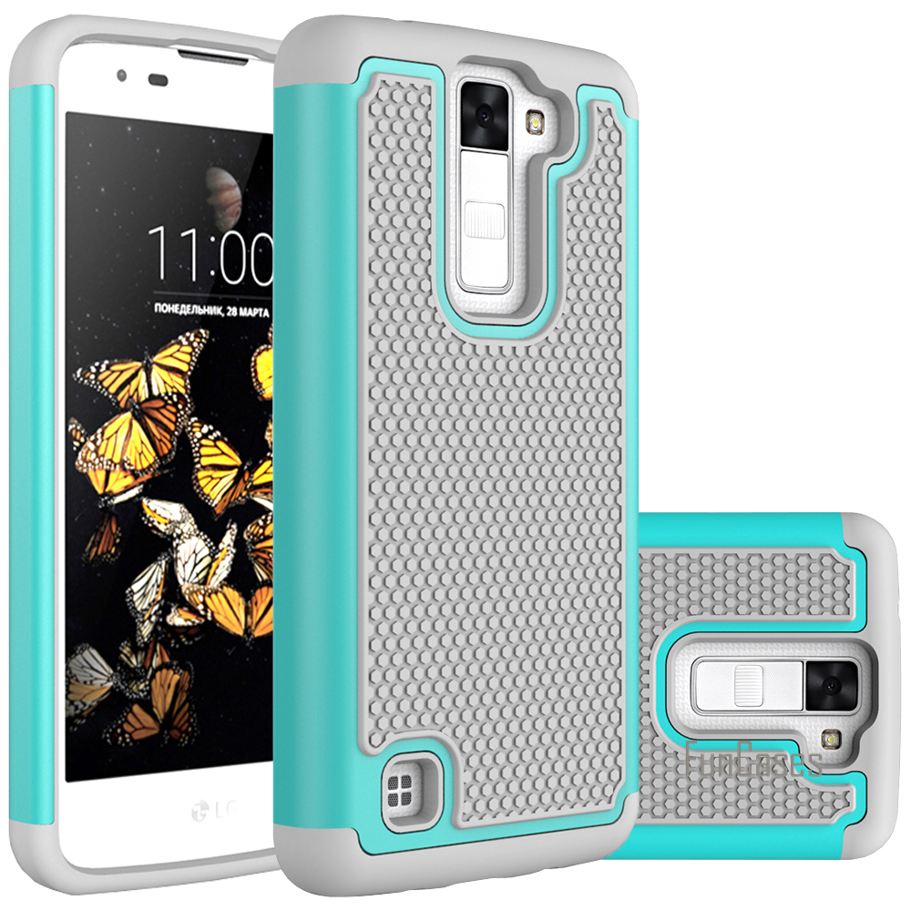 For Lg K8 K350 K350e K350n Case 50inch Dual Layer Heavy Duty Armor 2in1 Shark Hybrid Hard Soft Huawei P9 Rugged Rubber Pc Silicon 2 In 1 Shockproof Cover