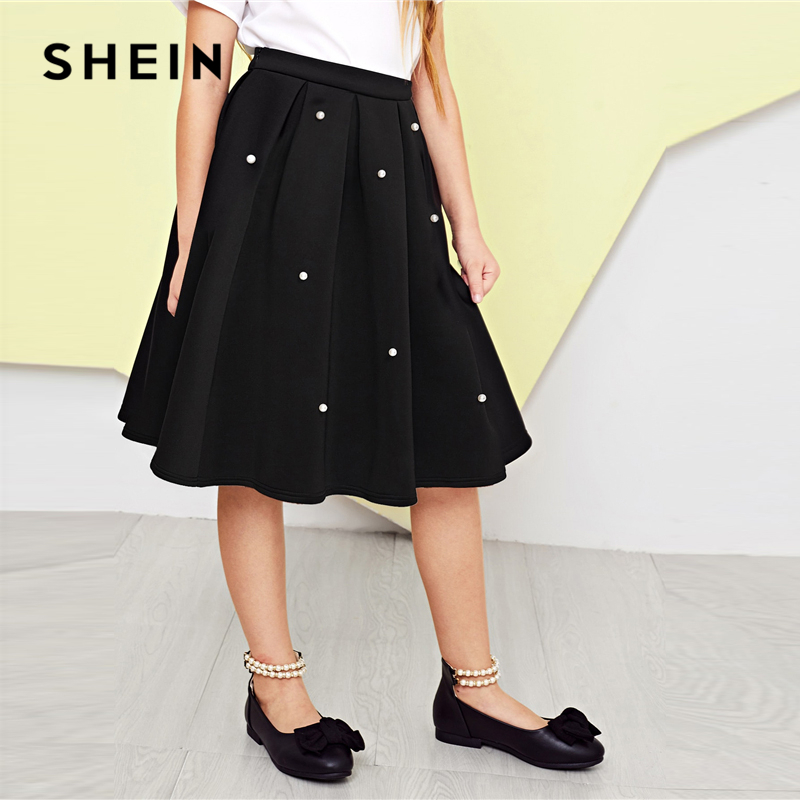 SHEIN Kiddie Girl Black Pearl Embellished Box Pleated Casual Skirt 2019 Spring Korean Beading Knee Length Skirt Cute Kids Skirts fringe and pearl embellished tweed dress