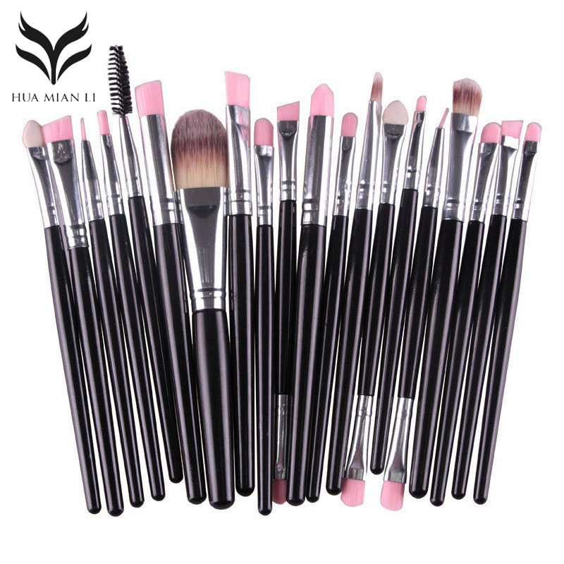 20Pcs/set Makeup Brush Kit Powder Foundation Eyeshadow Eyebrow Eyelash Lip Brushes Set Beauty Tools Function Cosmetic Brush 2016 new arrival black dual purpose eyelash assist device extension beauty supplies brow brush lash comb makeup brushes tools