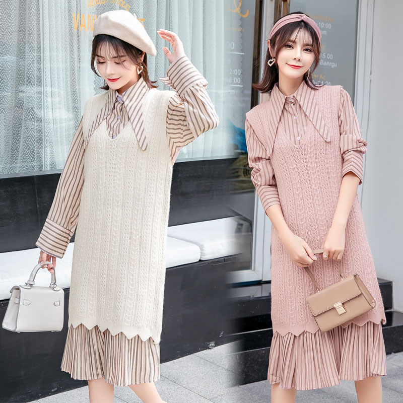 8866# 2PCS/Set Striped Long Dress + Tank Sweaters Maternity Clothing Autumn Winter Cute Clothes for Pregnant Women Pregnancy недорго, оригинальная цена
