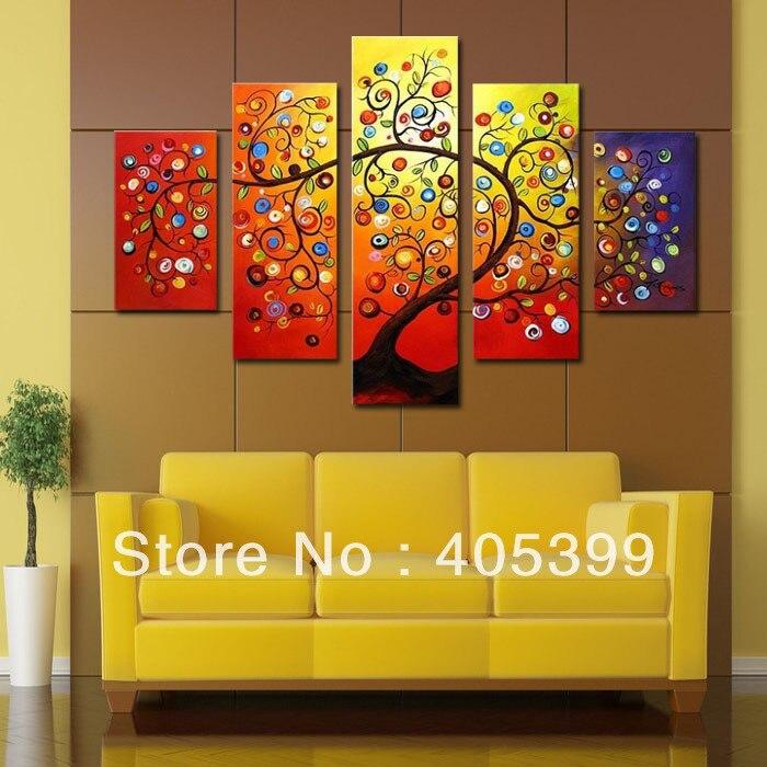 5pcs huge oversized handmade modern abstract oil painting on canvas wall art money tree - Cheap Canvas Wall Art