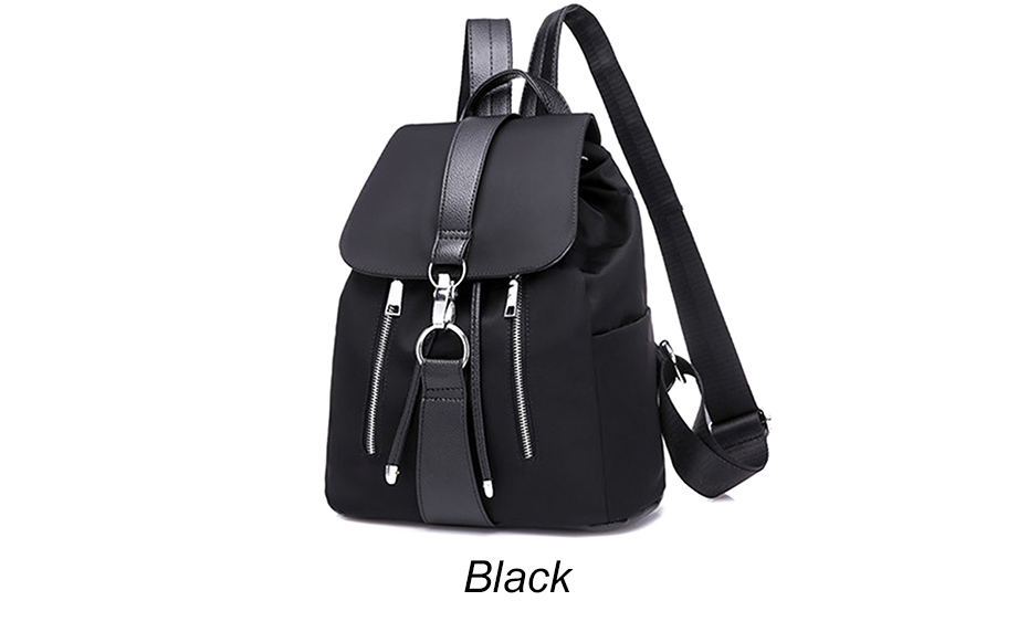HTB1Bz7NJ1OSBuNjy0Fdq6zDnVXab - Women Backpack School Bags For Teenager Girls Nylon Zipper Lock Design Black Femme Mochila Female Backpack Fashion Sac A Dos