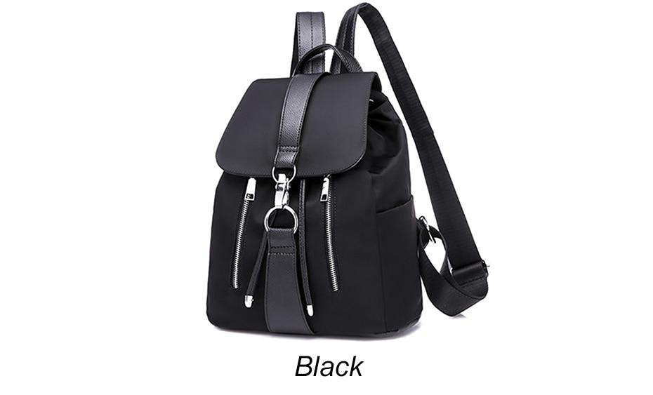 HTB1Bz7NJ1OSBuNjy0Fdq6zDnVXab Women Backpack School Bags For Teenager Girls Nylon Zipper Lock Design Black Femme Mochila Female Backpack Fashion Sac A Dos