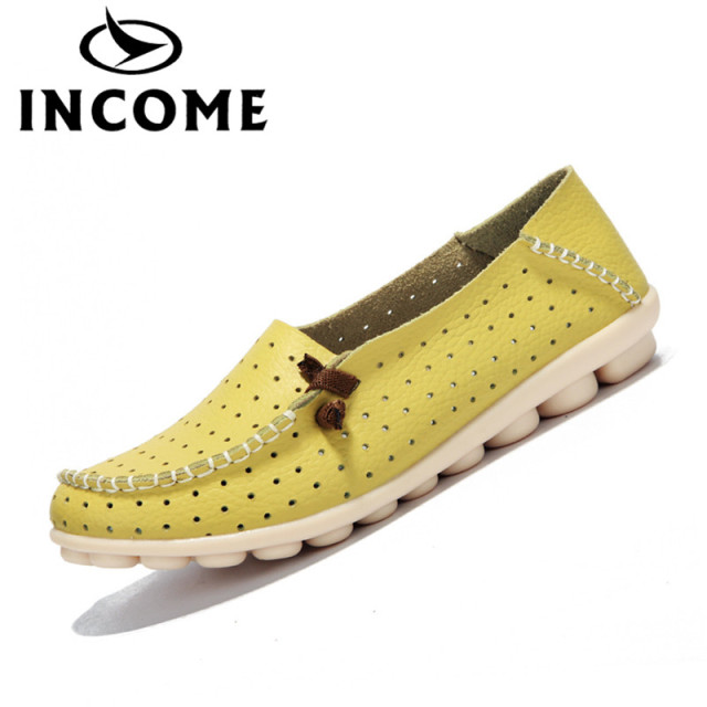 INCOME Genuine leather women flats shoes female casual flat shoes women loafers shoes slips soft leather flat women's shoes