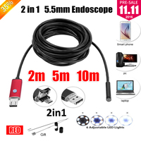 5 5mm Lens 2IN1 USB Endoscope Camera Snake Tube Pipe Waterproof USB Endoskop Car Inspection Borescope