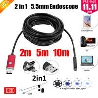 5 5mm Lens 2IN1 USB Endoscope Camera Snake Tube Pipe Waterproof USB Endoskop Car Inspection Borescope
