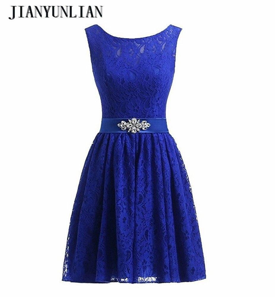 2018 New Designer Light Sapphire blue Lace   Bridesmaids     Dresses   Short Knee Length O-Neck Wedding Party   Dresses   Custom Made