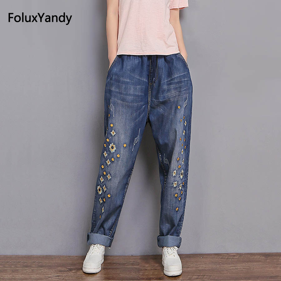 Loose Denim Wide Leg Pants Women Plus Size 3 XL Casual Embroidery   Jeans   Trousers MYNN04