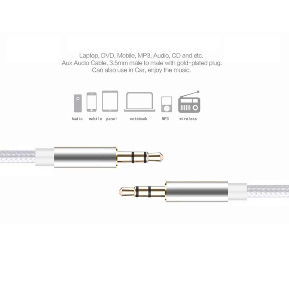 Kabel Audio JCKEL Stereo Aux 3.5mm do 3.5mm Jack z męskiego na męskie przewód pomocniczy pleciony nylonowy do iphone'a iPod CAR MP3/MP4