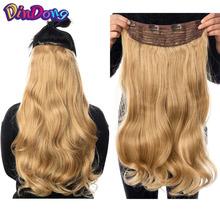 DinDong klip w przedłużanie włosów syntetyczny falisty 24-calowy 190G Premium żaroodporne włosy 613 Blonde Brown 19 kolory dostępne tanie tanio Faliste 10 cali z 4 klipami Z DinDong Czysty kolor Włókno wysokotemperaturowe