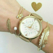 (None Watch) 11.11 HOT White Bead Peacock Bangles Bracelets Simple Geometric Leaf Knot Metal Bohemian Retro Bracelet Jewelry(China)