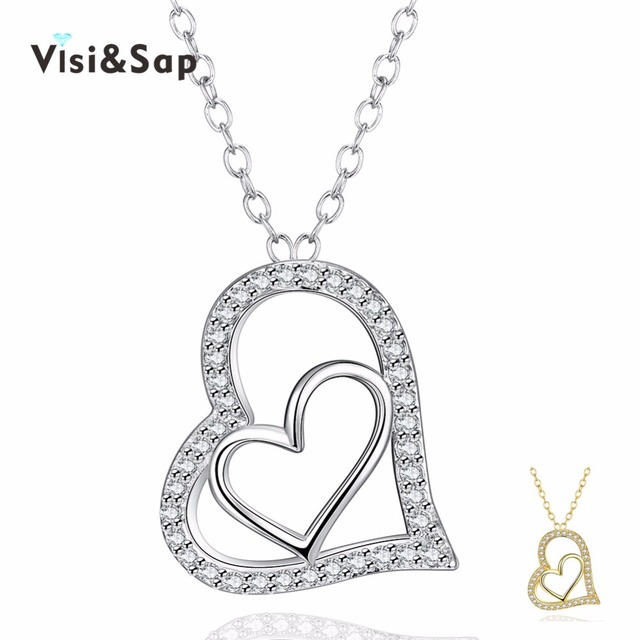 Visisap large heart necklaces for women luxury jewelry micro pave visisap large heart necklaces for women luxury jewelry micro pave necklacespendants for wedding chains gold color mozeypictures Choice Image