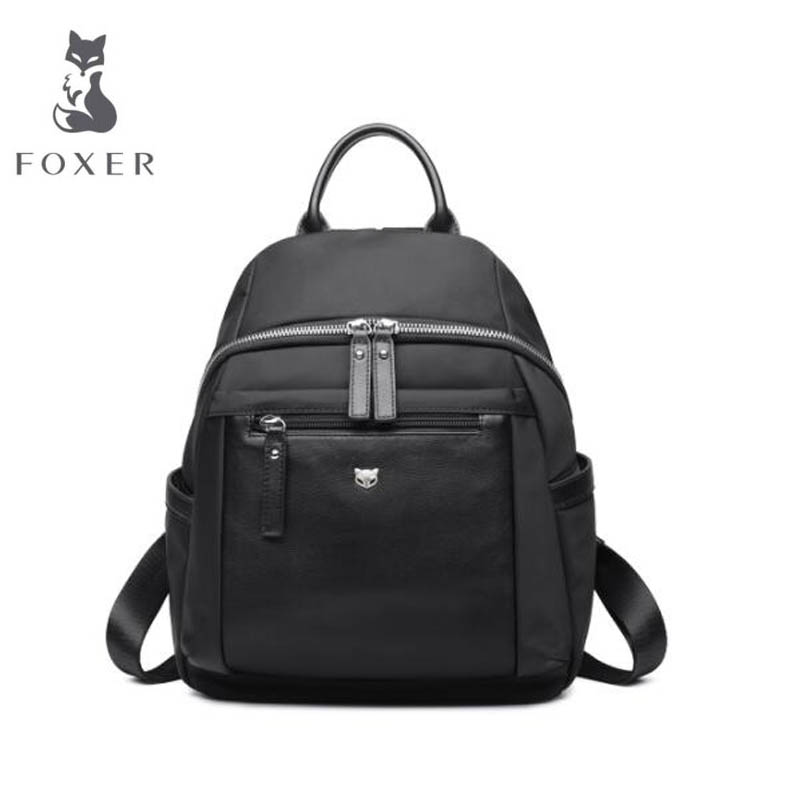 FOXER Brand 2018 New Fashion Litchi Pattern Genuine Leather Backpack and leisure backpack College Wind Student Schoolbag pu leather backpack litchi pattern student bag