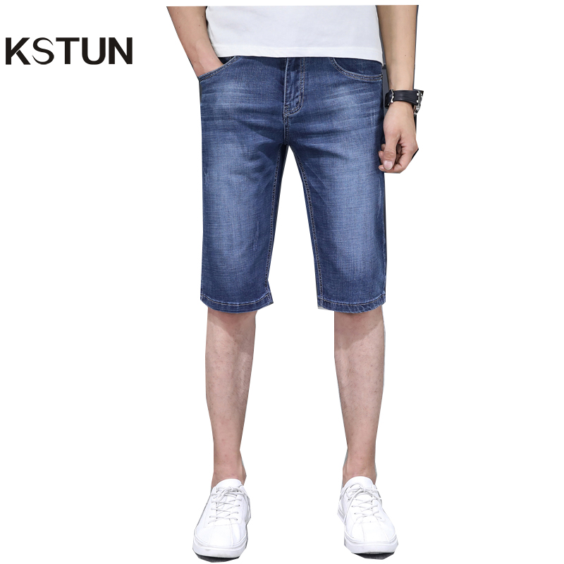 KSTUN Men's Jeans Trousers Summer Shorts Light Blue Stretch Denim Short Slim Fashion Shorts Man Casual Mens Jeans De Homme Newly